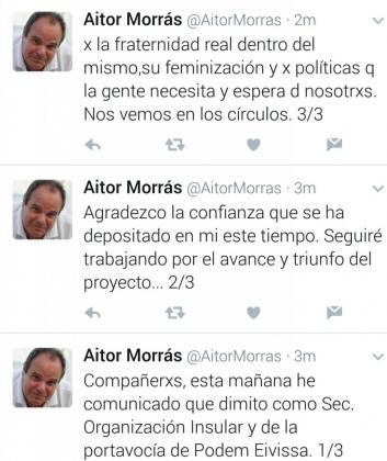 Declaraciones de Aitor Morrás en su cuenta de Twitter.