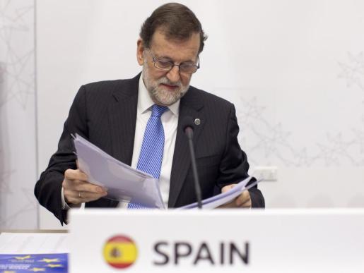 El presidente del Gobierno español, Mariano Rajoy, en la primera sesión de trabajo de la reunión de Jefes de Estado y de Gobierno de la UE.