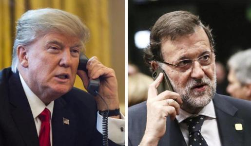 Imágenes de archivo de los presidentes de EEUU y de España manteniendo sendas conversaciones telefónicas.