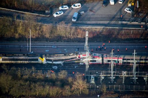 Imagen aérea del accidente entre dos trenes.