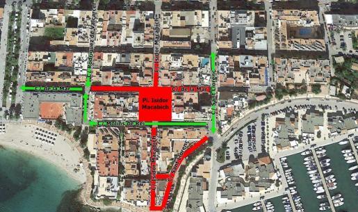 Plano de circulación por las obras de peatonalización en Santa Eulària.