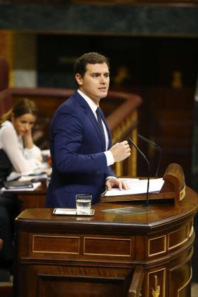 El líder de Ciudadanos, Albert Rivera, durante su intervención la tarde de este martes en el pleno de la Cámara baja.