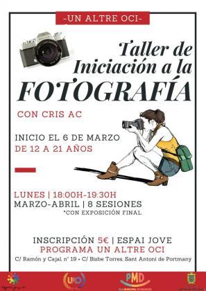 Imagen del cartel del taller de iniciación a la fotografía.
