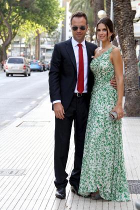 Nuria Fergó y su marido, José Manuel Maíz, en la boda de Mikel Arteta y Lorena Bernal, este verano.
