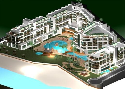 Proyección de cómo quedaría el hotel de cinco estrellas con 'beach club', que tendría capacidad para 8.000 personas.