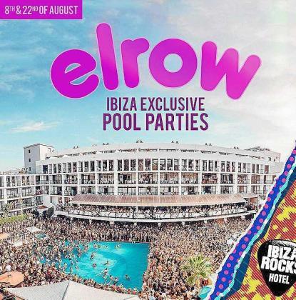 Cartel de las dos fiestas de Elrow que se celebrarán en la piscina de Ibiza Rocks los días 8 y 22 de agosto.