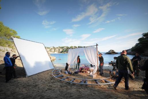 En la imagen,preparación de un rodaje en Mallorca.