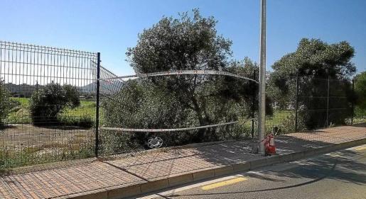 El vehículo del conductor denunciado acabó fuera de la carretera tras tumbar un valla y golpear una farola en la avenida Cap Martinet, en Jesús. Foto: RENATO STEINMEYER