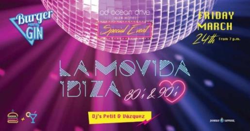 Cartel de la fiesta La Movida Ibiza que se celebra este viernes en el Hotel OD Ocean Drive.