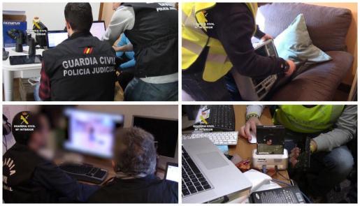 Fotografías facilitadas por la Guardia Civil que ha asestado un importante golpe a la pornografía infantil, en una macrooperación desarrollada por toda la geografía en 38 provincias.