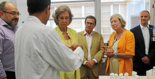 La reina Sofía, en su visita al laboratorio de la UIB en 2014, con Escribá en el extremo izquierdo de la imagen.