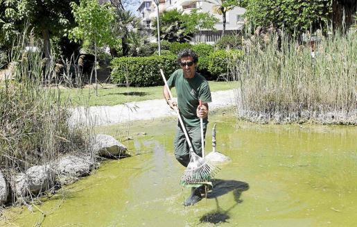 La suciedad del lago y las primeras tareas de limpieza, que comenzaron durante la jornada de ayer.