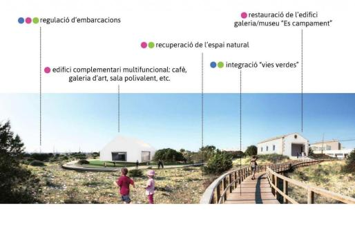 Estudio Lunar propone la creación de un parque en la zona de es Campament, donde se construiría un nuevo edificio que se utilizaría como sala polivalente.