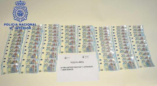 Imagen de los 82 billetes de 20 euros intervenidos por la Policía Nacional.