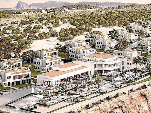 Recreación de los edificios del futuro complejo turístico de lujo Seven Pines Resort Ibiza.