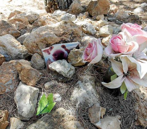 Imagen de una tumba que hay en el cementerio de mascotas de sa Caleta.
