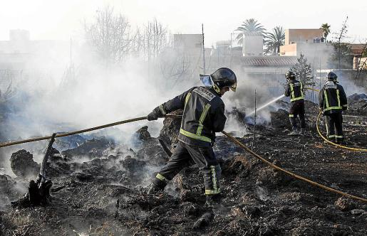 Los bomberos tratan de sofocar las llamas del incendio registrado ayer por la tarde en un solar cercano a unas viviendas en Cala de Bou.