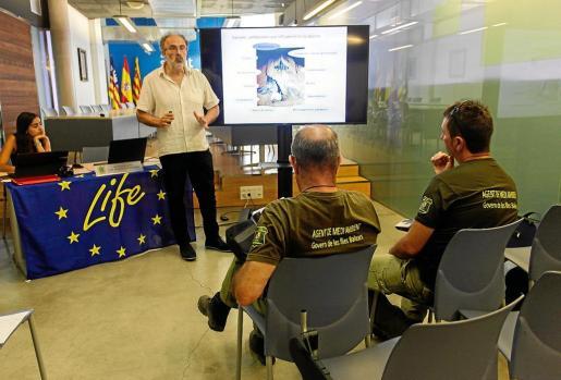 Un instante del taller celebrado ayer por el CREM en el Ayuntamiento de Sant Antoni.