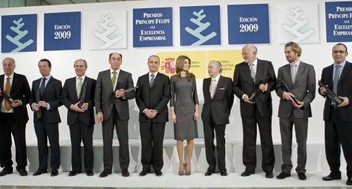 La Princesa de Asturias presidió el acto de entrega, en la que Sebastián Escarrer (primero por la derecha) recibió el galardón a la Excelencia Turística.