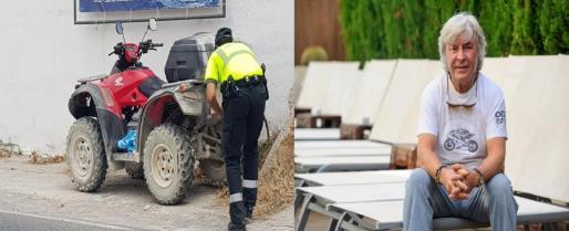A la izquierda, un agente de la Guardia Civil de Tráfico revisa el quad accidentado. A la derecha, Ángel Nieto en una imagen de archivo.