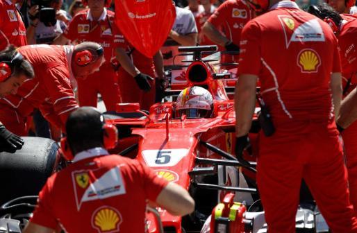El alemán Sebastian Vettel, tras la sesión de clasificación del Gran Premio de Hungría de Fórmula 1.