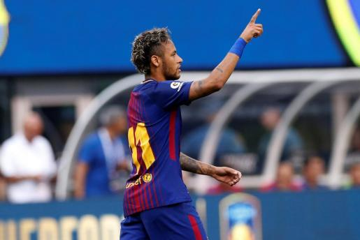 Football Soccer - Barcelona vs Juventus - International Champions Cup - East Rutherford, New Jersey, U.S. - July 22, 2017 - Barcelona's Neymar celebrates against Juventus. REUTERS/Mike Segar SOCCER-ICC-FCB-JUV/