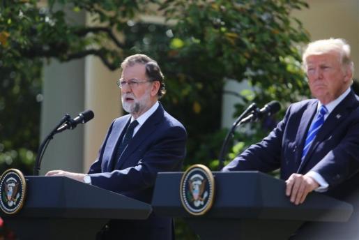 Rajoy y Trump tras la reunión en la Casa Blanca.
