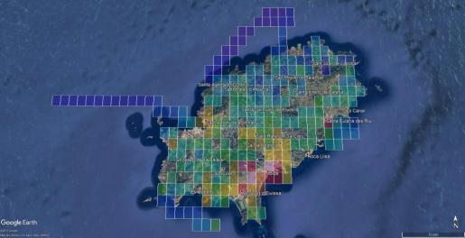 Con los colores más intensos, las zonas con una mayor contaminación lumínica que hay en Ibiza.