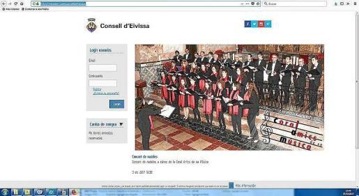 La página web del Consell d'Eivissa para comprar entradas.