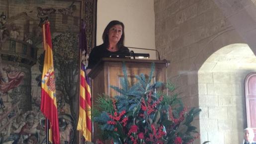 La presidenta del Govern, Francina Armengol, durante su intervención en el 39º aniversario de la Constitución Española.