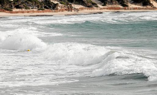 Arriba, fuerte oleaje ayer en la playa de ses Salines. Abajo, las olas chocan contra las rocas en la bahía de ses Figueretes.