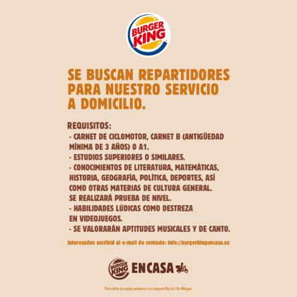 Polémica campaña de publicidad de Burger King.