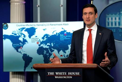 Tom Bossert, homeland security adviser to President Donald Trump, holds a press briefing to publicly blame North Korea for unleashing the so-called WannaCry cyber attack at the White House in Washington, U.S., December 19, 2017. REUTERS/Kevin Lamarque USA-CYBER/NORTHKOREA