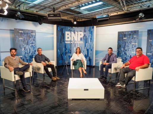 Antonio Lorenzo, Di Terlizzi, Amàlia Sebastián, Marcos Serra y Jesús Rumbo, en el debate de ayer.