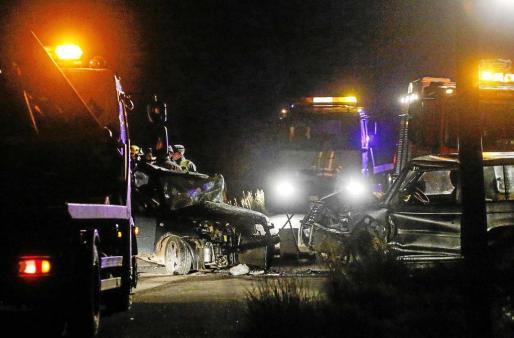 Imagen del choque frontal ocurrido el pasado 22 de diciembre en Sant Llorenç y en el que falleció un joven de 30 años.