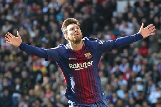 Messi celebrando un gol en el Bernabéu.