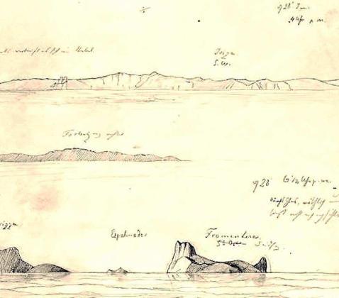 Dibujo a lápiz de Hendrik Willem Adalbert de Prusia de los perfiles de Ibiza, s´Espalmador y Formentera.