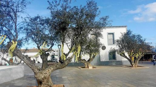 Imagen de la plaza de Sant Francesc ayer por la mañana con los lazos amarillos.