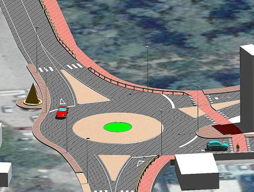 Recreación sobre cómo quedará la futura rotonda, que incorporará pasos para peatones.