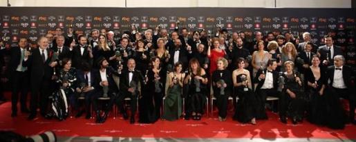 Foto de los galardonados en la 32 Edición de los Premios Goya que se ha celebrado en el Madrid Marriott Auditorium Hotel.
