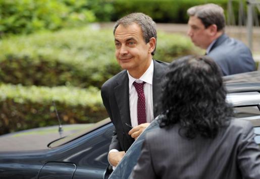 José Luis Rodríguez Zapatero, a su llegada este mediodía a la sede del Consejo de Europa.