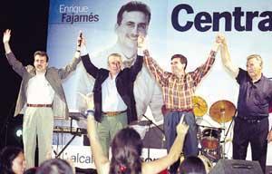 Enrique Fajarnés, Javier Arenas, Jaume Matas y Antoni Marí Calbet, ayer en el mitin que ofreció el PP en Cas Serres. Foto: GERMÁN G. LAMA.