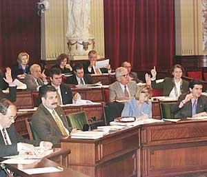 En la sesión de ayer los diputados aprobaron el proyecto estrella del gobierno de Matas. Foto: JAUME MOREY.