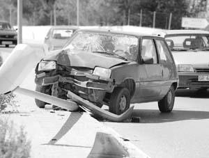 Imagen de un accidente ocurrido el año pasado en la Avenida de Sant Agustí.