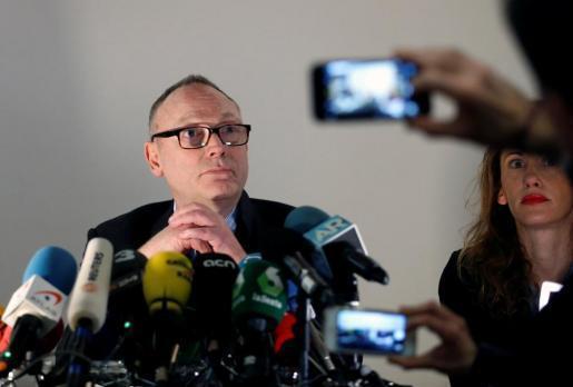 Ben Emmerson, abogado del expresident de Catalunya Carles Puigdemont, en la conferencia de prensa.