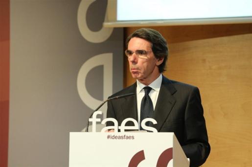 José María Aznar interviene en un acto de la Fundación FAES, en una imagen de archivo.