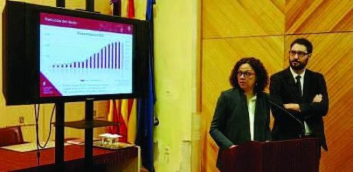 La consellera d'Hisenda, Catalina Cladera, y el director general de Pressuposts, Joan Carrió, observan un gráfico que muestra la evolución de la deuda de Balears. La curva ha ido en ascenso desde 2000, pero bajará por primera vez en 2018.