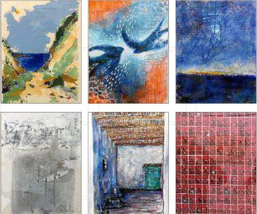 De izquierda a derecha y de arriba a abajo obras de Diana Bustamante, Doralice Souza, Enric Riera, Josefina Torres, María Catalán y Pedro María Asensio.