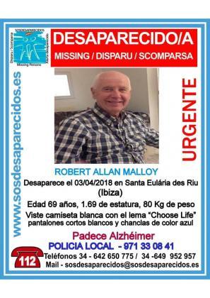 Santa Eulària llama a una movilización ciudadana a las 16.30 horas para localizar al vecino desaparecido.