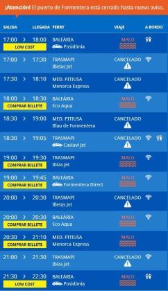 El cierre del puerto de la Savina ha obligado a cancelar los trayectos con Ibiza.